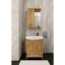 Mikola-M plastic set 2.0 golden oak with drawer and washbasin + mirror right 80