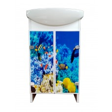 Cabinet The Mix Eco Green light Fish with washbasin  50 cm